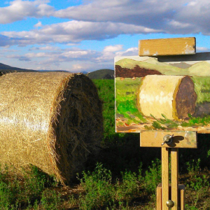 hay bale painting