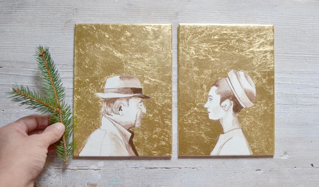 custom profile couple portrait