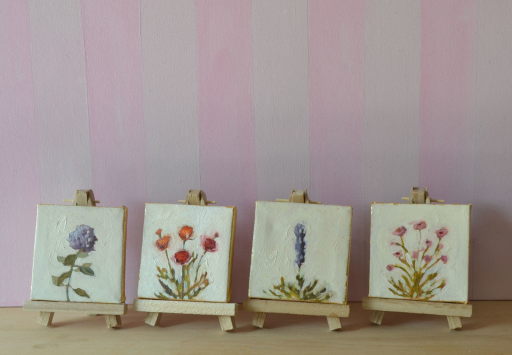 mini flower paintings bridesmaids gifts
