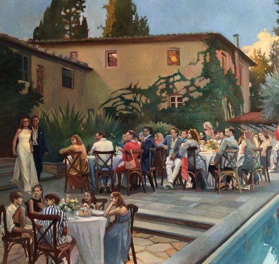 Event painting of celebration in Tuscany