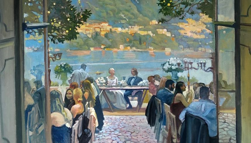 event painting on lake como